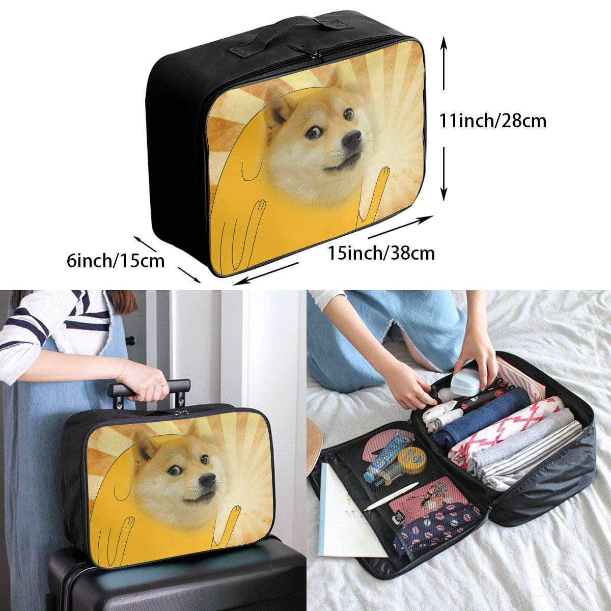 Lightweight Large Capacity Portable Duffel Bag for Men /& Women Sausage Doge Travel Duffel Bag Backpack JTRVW Luggage Bags for Travel