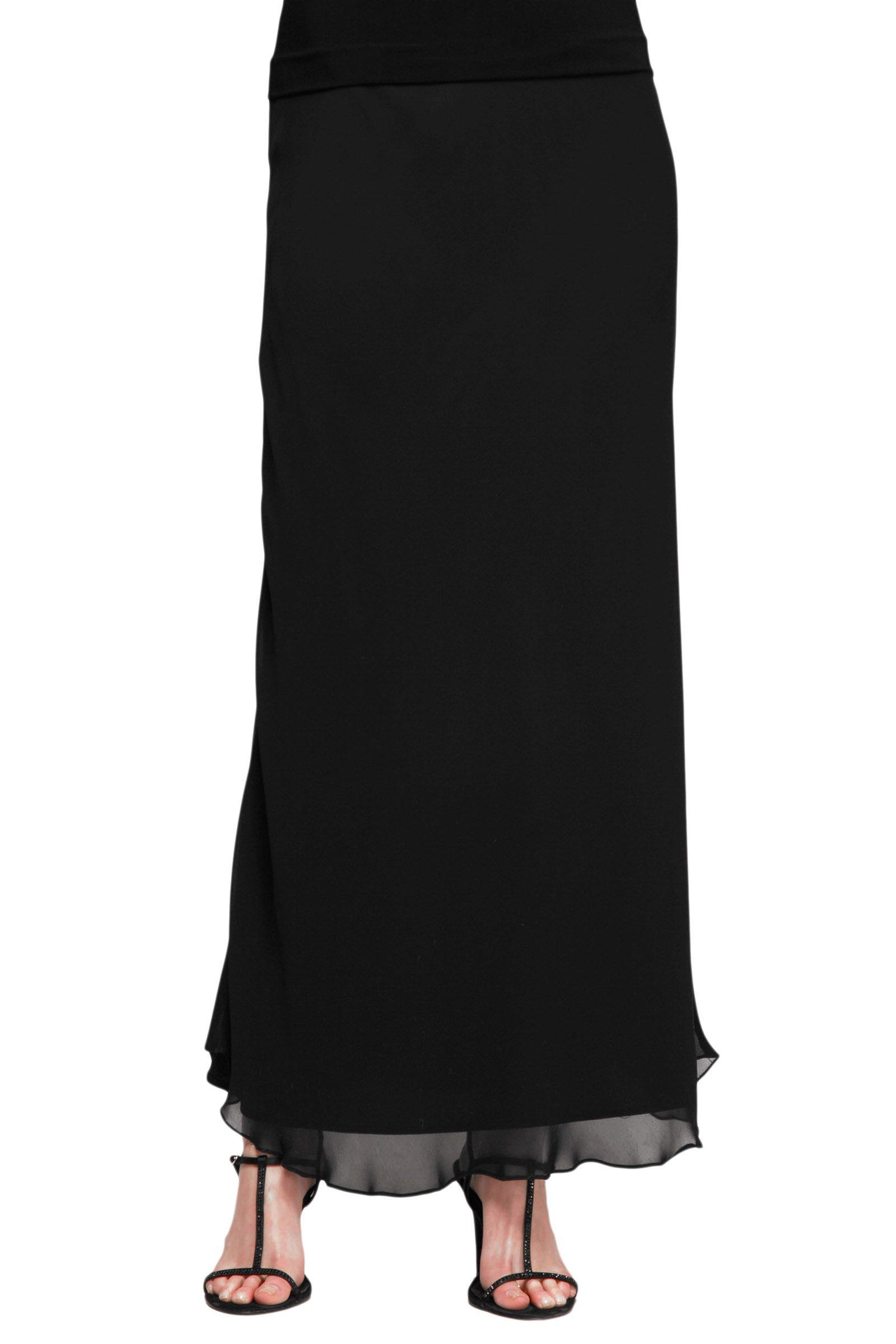 Alex Evenings Women's Long Skirt Various Styles (Petite and Regular Sizes), Black Chiffon A, MP by Alex Evenings