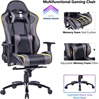 KILLABEE Big and Tall Gaming Chair with Metal Base - Ergonomic Leather Racing Computer Chair High-Back Office Desk Chair with Adjustable Memory Foam Lumbar Support and Headrest, Black