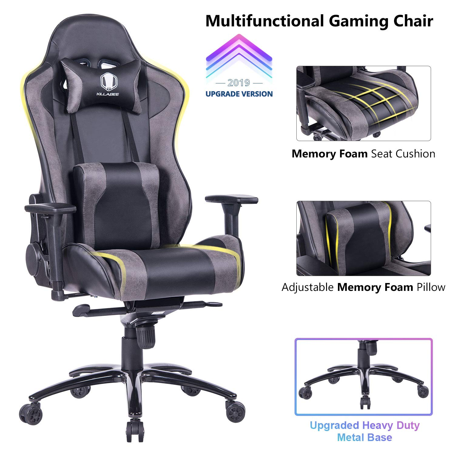 KILLABEE Big Tall 400lb Memory Foam Reclining Gaming Chair Metal Base – Adjustable Back Angle and Retractable Footrest Ergonomic High-Back Leather Racing Executive Computer Desk Chair, Dark Blue