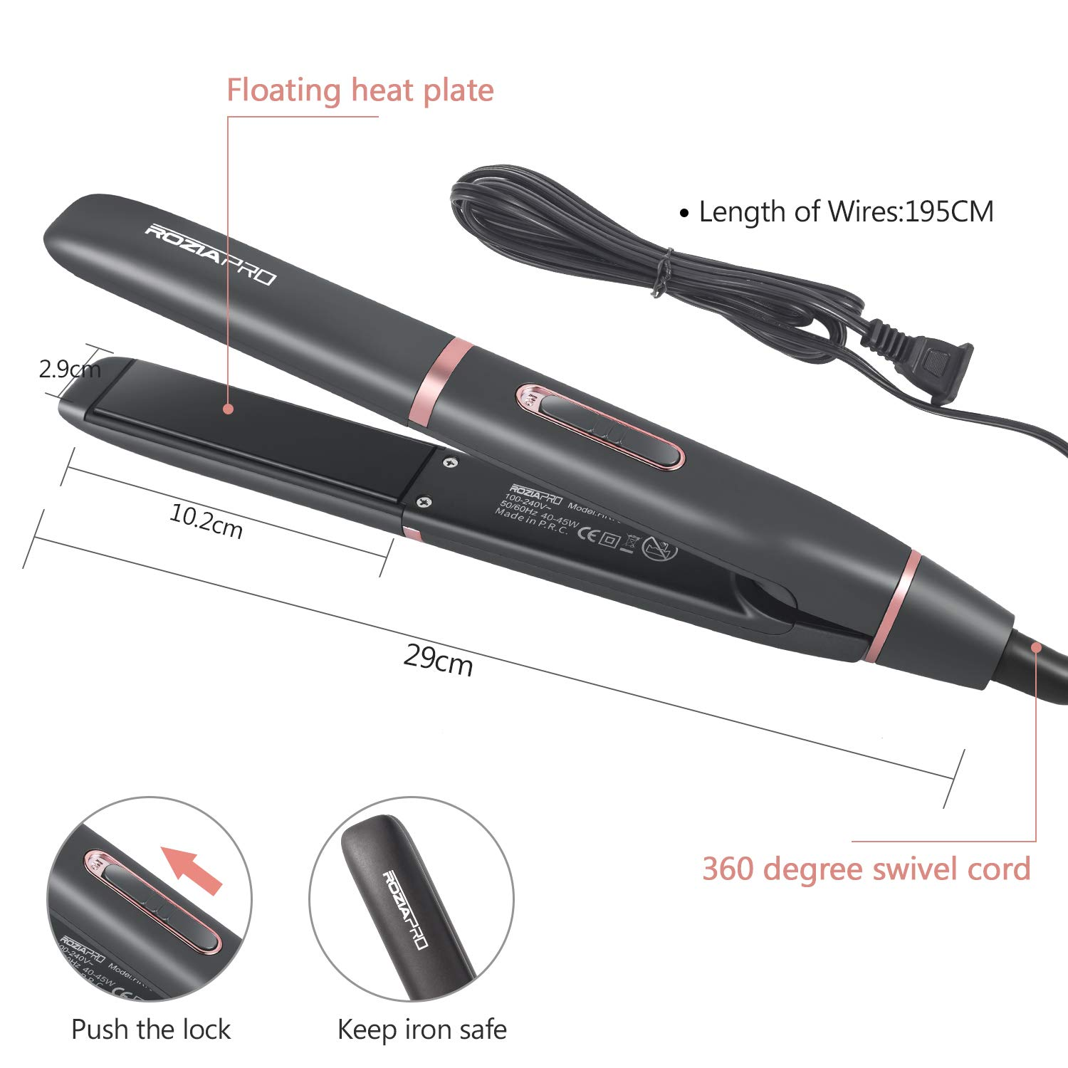 Hair Straightener Glider Ceramic Tourmaline Ionic Flat Iron Straightens & Curls