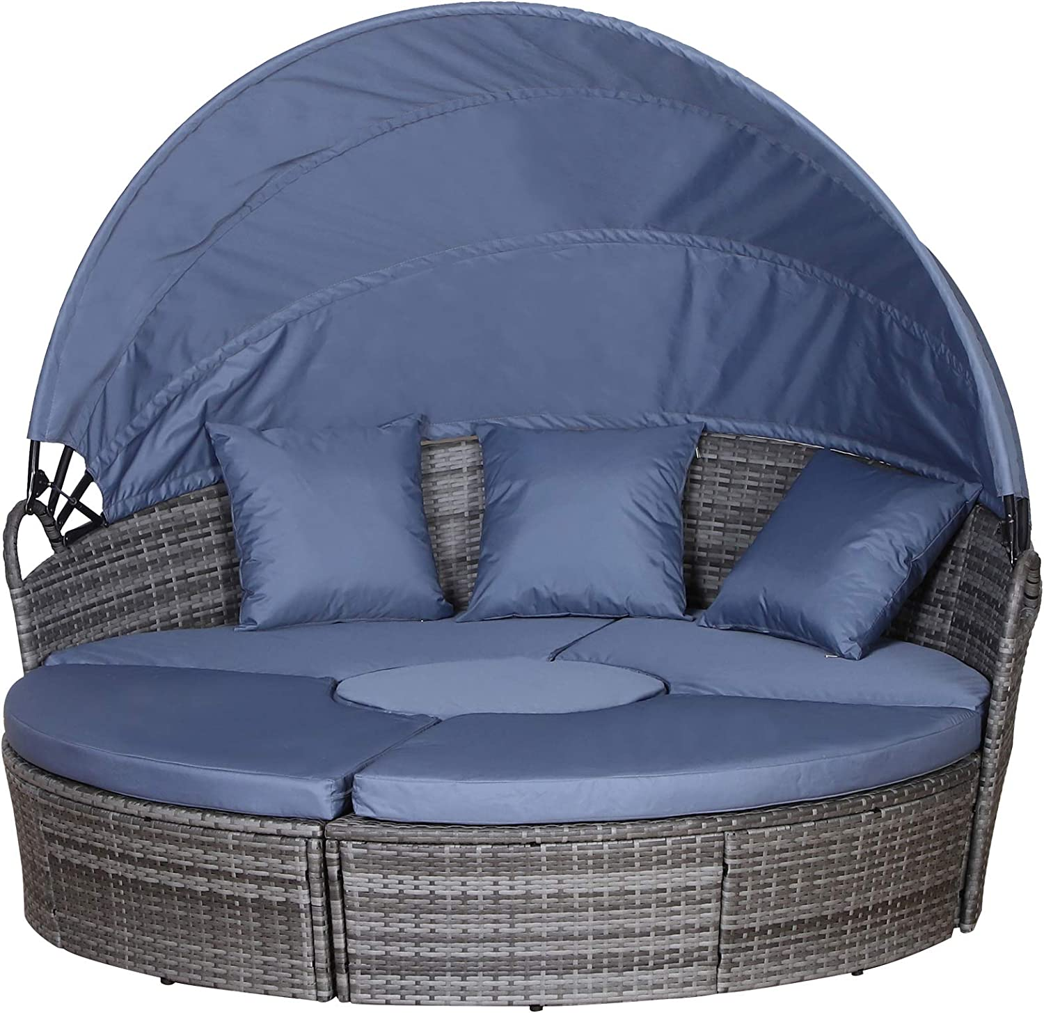 Outsunny 5-Piece Cushioned Outdoor Rattan Wicker Round Sunbed or Conversational Sofa Set with Sun Canopy, Grey
