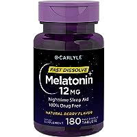 Carlyle Melatonin 12 mg Fast Dissolve 180 Tablets | Nighttime Sleep Aid | Natural Berry Flavor | Vegetarian, Non-GMO, Gluten Free