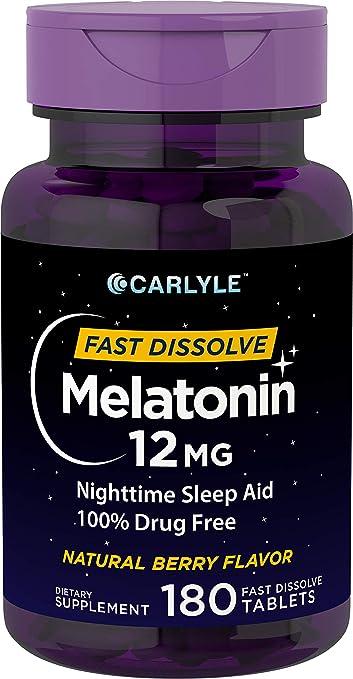Carlyle Melatonin 12 mg Fast Dissolve 180 Tablets | Nighttime Sleep Aid |  Natural Berry Flavor | Vegetarian,
