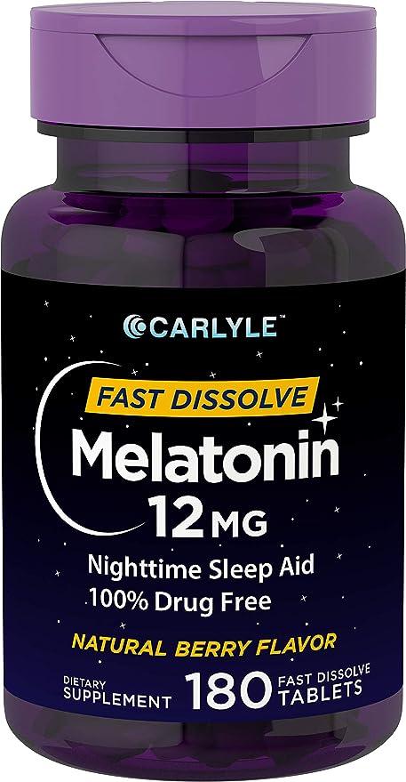 Amazon.com: Carlyle Melatonina 12 mg Disolver rápidamente ...