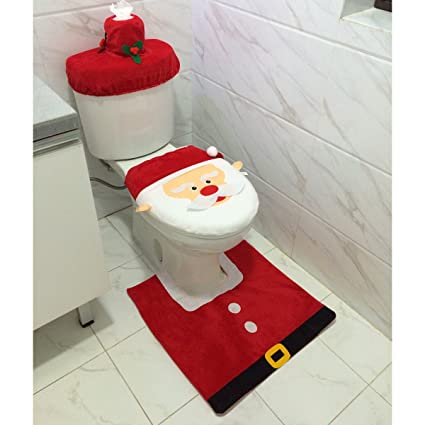 Amazon Santa Toilet Seat Cover And Rug Set Christmas Bathroom