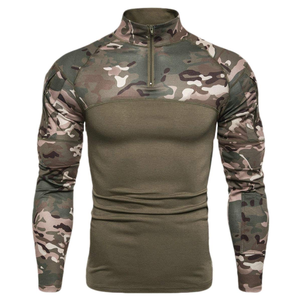 Domple Men Zip Up Stand Collar Camouflage Stylish Long Sleeve T-Shirt Tee