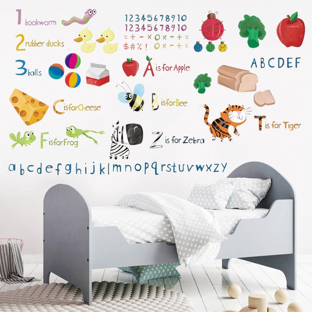 decalmile Alfabeto Educativo ABC e Numero Adesivi Murali Alimenti Animali Adesivi da Parete Aula Asilo Camera da Letto per Bambini Stanza del Bambino Decorazioni