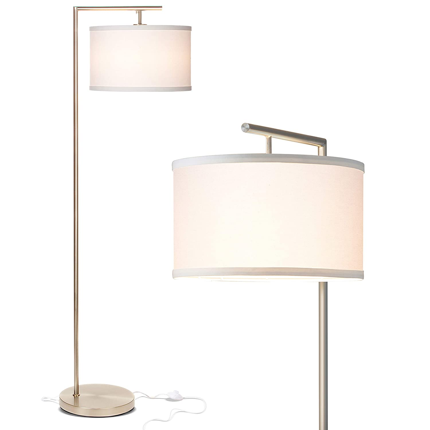 Brightech Montage Modern – LED Floor Lamp for Living Room- Standing Accent Light for Bedrooms, Office – Tall Pole Lamp with Hanging Drum Shade – Satin Nickel