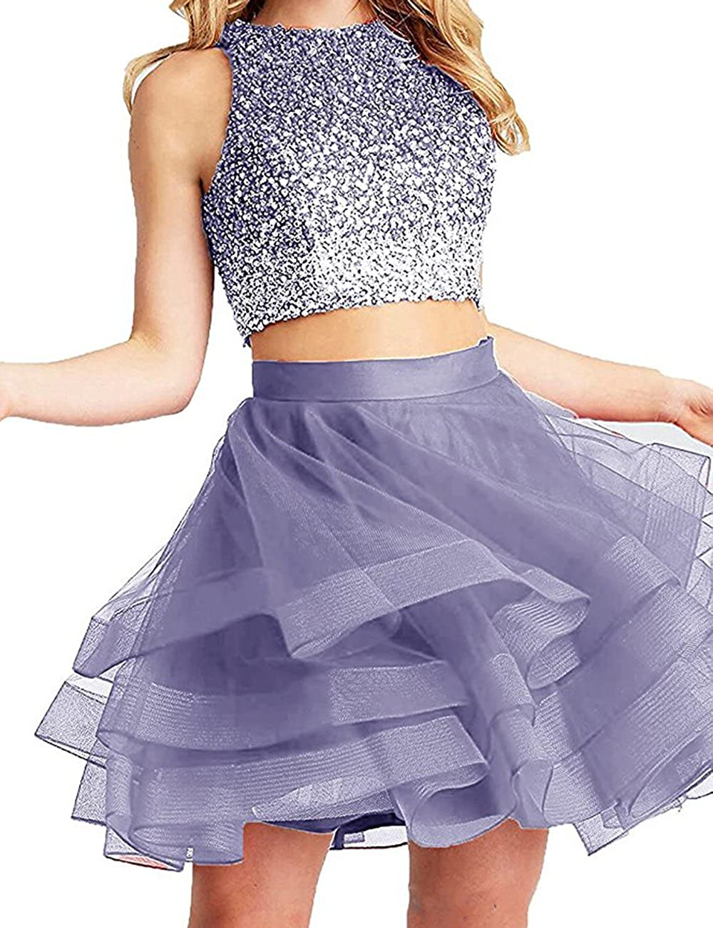 Lavender Beautydress Two Pieces Short Prom Gowns Top Beaded Girls Homecoming Dress