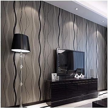 Wunderbar Qihang Hochwertigem Vlies Beflocken Einfach Curve Style Tapete Rolle  Schwarz U0026 Grau Farbe