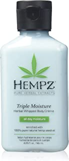 product image for Hempz Natural Triple Moisture Herbal Whipped Body Creme with 100% Pure Hemp Seed Oil for 24-Hour Hydration - Moisturizing Vegan Skin Lotion with Yangu Oil, Peach and Grapefruit - Enriched Moisturizer