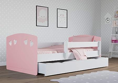 Cama infantil julia 80 cm x 180 cm con barrera de seguridad + somier + cajones + colchón. - Rosa