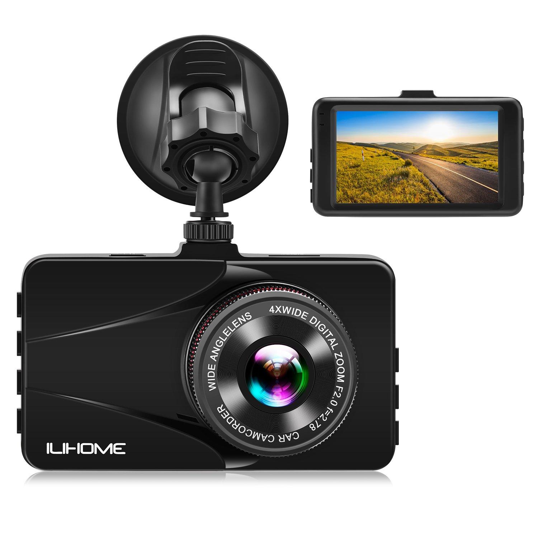 【Alloy Shell】Ilihome Dash Cam Full HD 1080P Car Camera 3.0'' Screen Dashboard Camera DVR Car Recorder with G-sensor, WDR, Loop Recording, Motion Detection, Night Vision, Parking Monitor