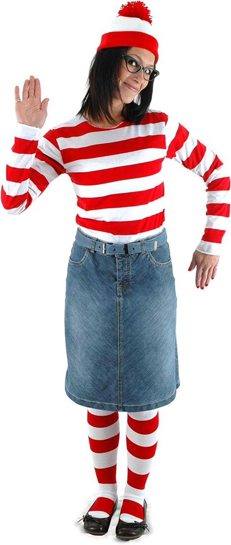 Red//White Small//Medium elope Wheres Waldo Adult Costume Kit