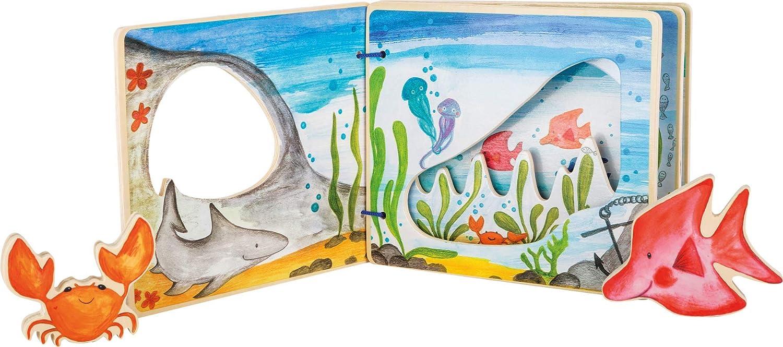 small foot company- Libro ilustrado Interactivo, Animales en Movimiento, estimula la imaginación y Permite Descubrir el Mundo Submarino Juguetes, Multicolor (Small Foot by Legler 11290)