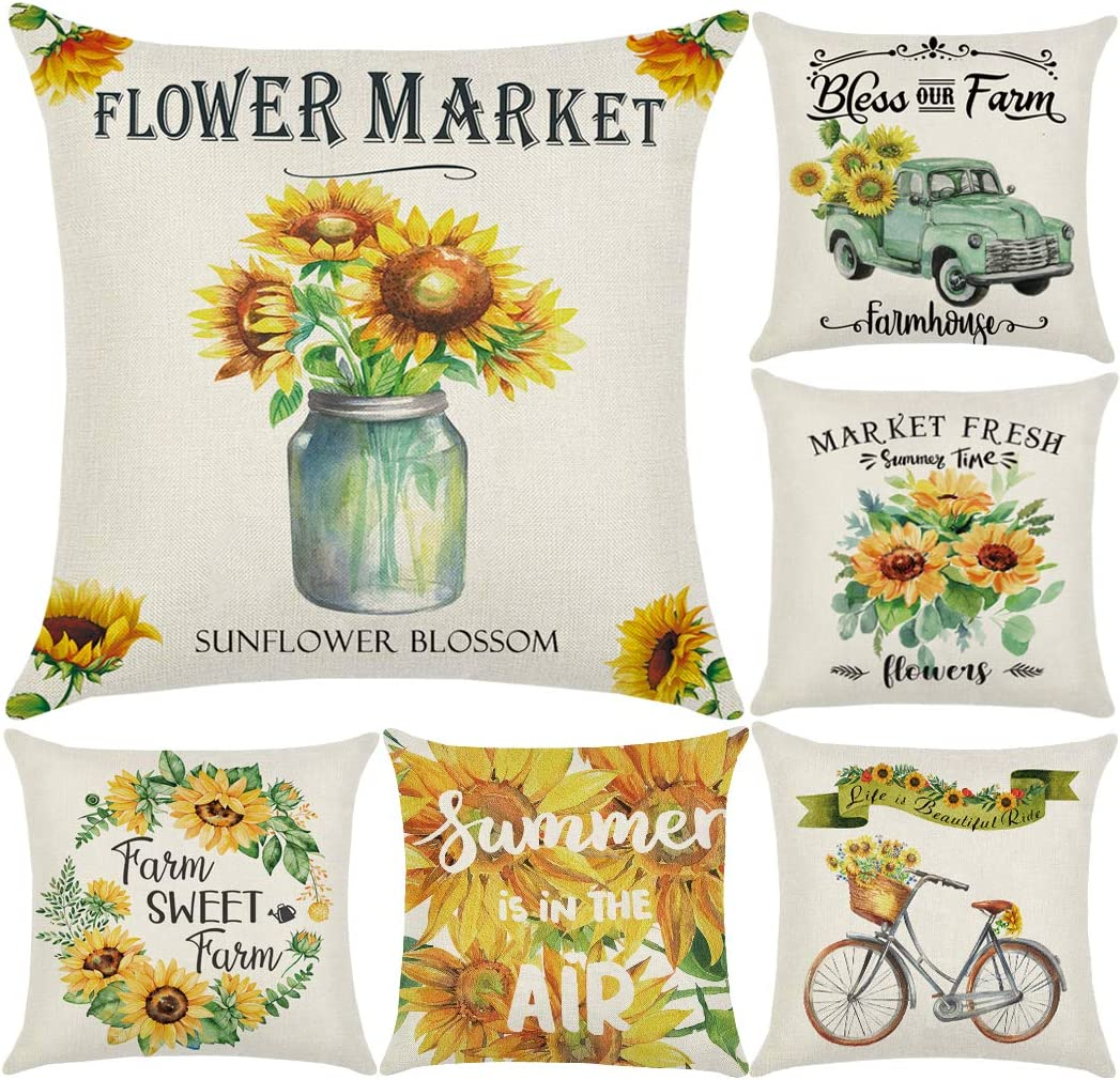 Kids Decorative Pillow Covers for Girls Lil Sis Floral Throw Cushion Case