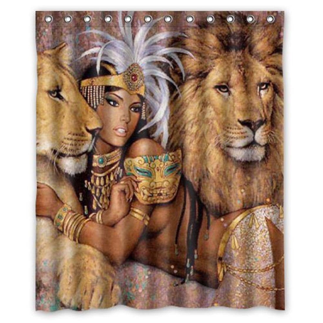 60x72-inch (165x180cm)Fheaven Custom Waterproof Bathroom African Woman And Lion Shower Curtain Polyester Fabric Shower Curtain