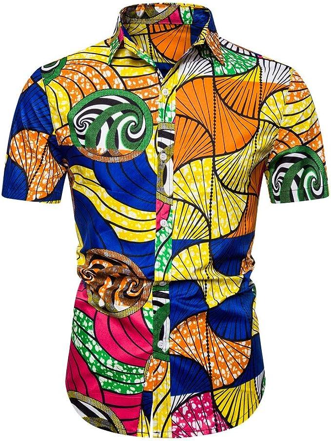 Vectry Verano De Los Hombres Hawaiano Impreso Camisa De Manga ...