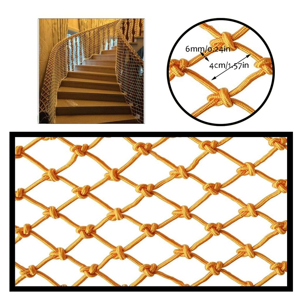 Restaurant Ceiling Net Stair Protection Net Kids Safety Net Balcony Anti-Fall Net Cat Net Hanging Clothes Photo Wall Kindergarten Decoration Net Yellow Indoor (Size : 1x6m)