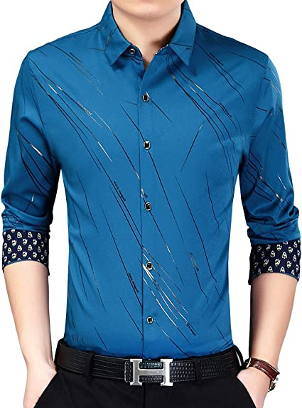 ZYFMAILY Mens Long Sleeve Button Up Point Collar Printed Dress Shirt