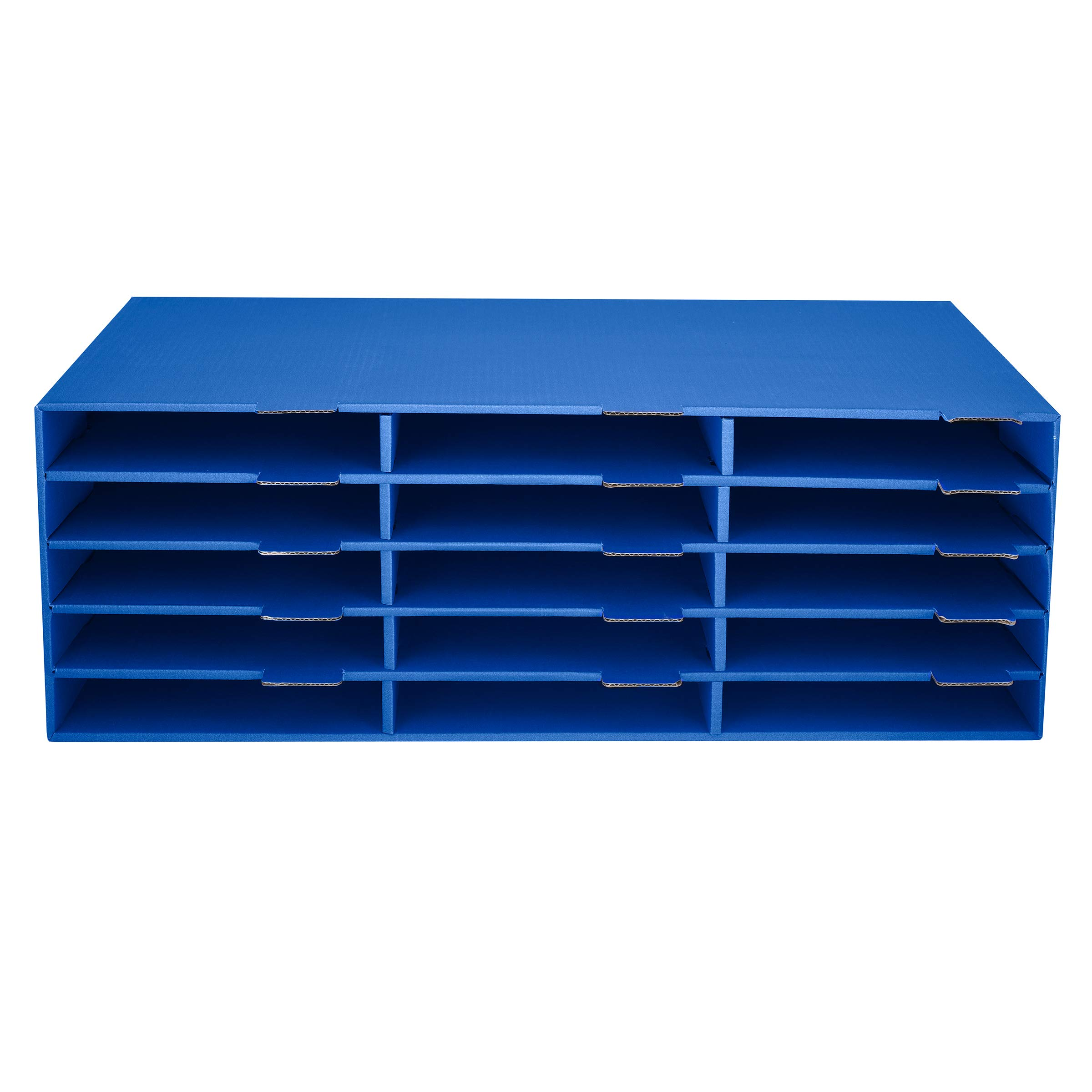 AdirOffice Construction Paper Storage Bin 9½'' x 29'' - 15 Slot Vertical File Compartment - Organizer for Home & Office - Blue