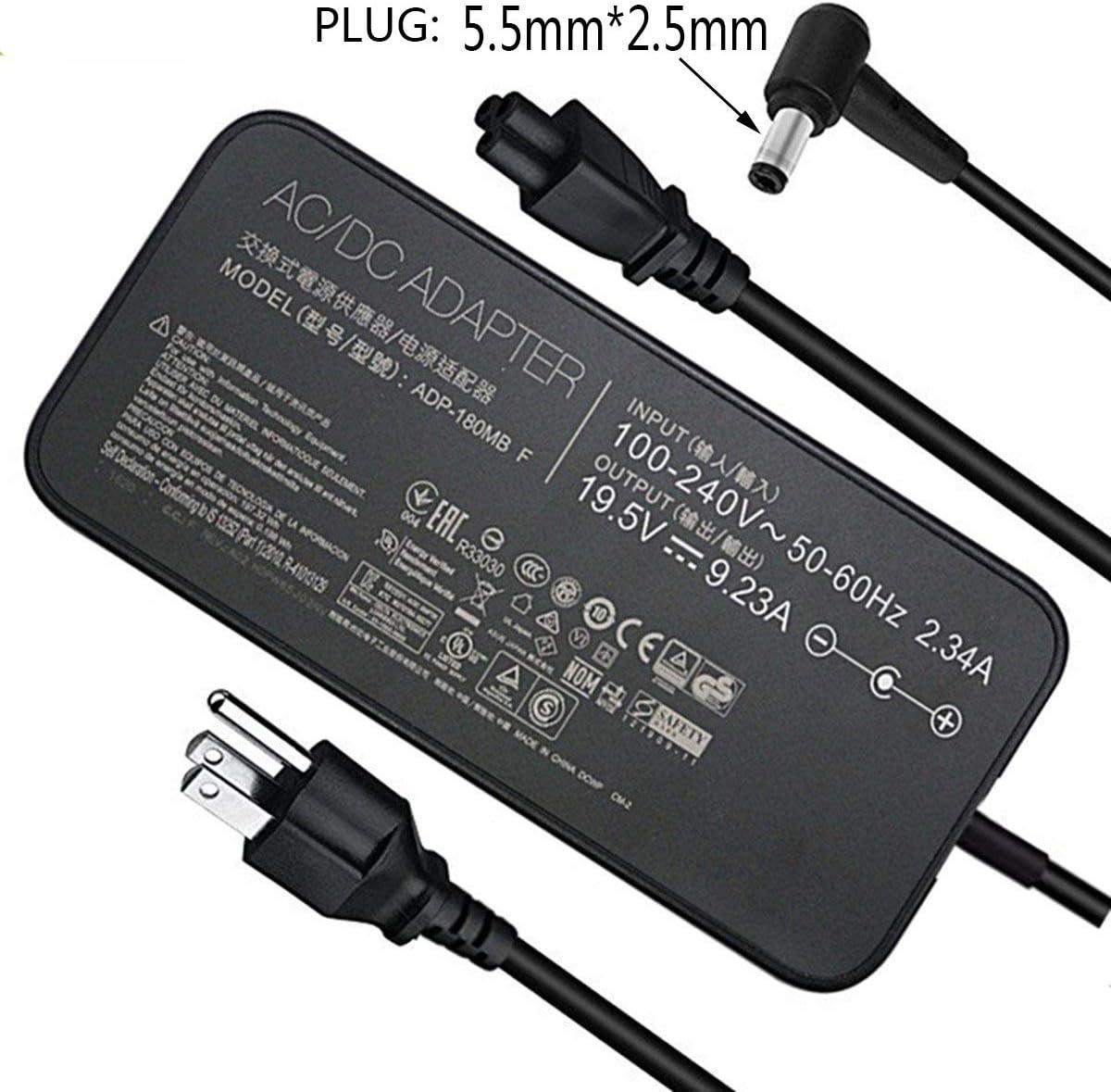 180W 19.5V 9.23A Laptop Charger(Plug:5.5mm2.5mm) ADP-180MB F FA180PM111 AC Power Adapter for New Asus ROG G75 G75VW G75VX GL502VT G750JW G750JM G750JX G751JL G751JM G752VL G-Series Gaming Laptops
