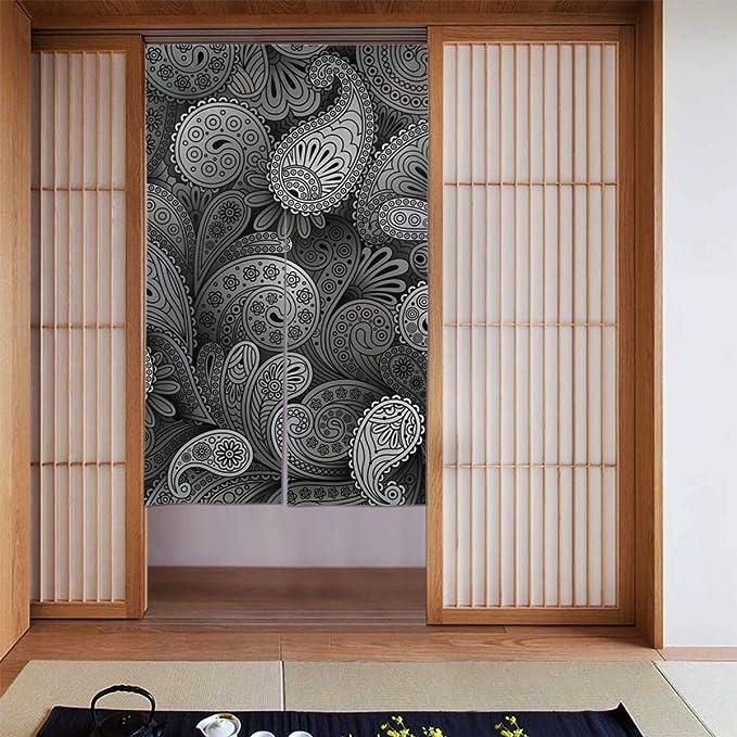 Ink Floral Painting Japanese Door Curtains Hanging Half Kitchen Doorway Divider
