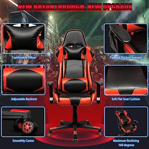Gaming Chair Racing Office Computer Ergonomic Video Game Chair PU Leather Desk Chair Backrest and Seat Height Adjustable Swivel Recliner