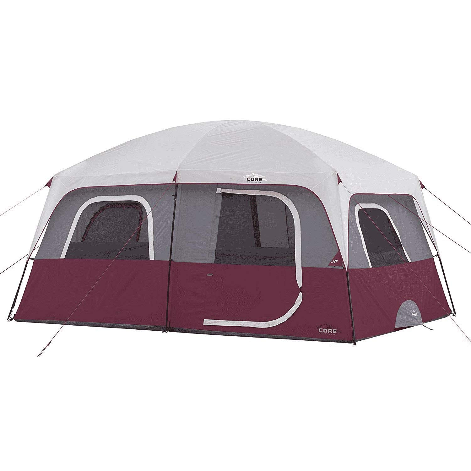 CORE 10 Person Straight Wall Cabin Tent (Wine) by CORE