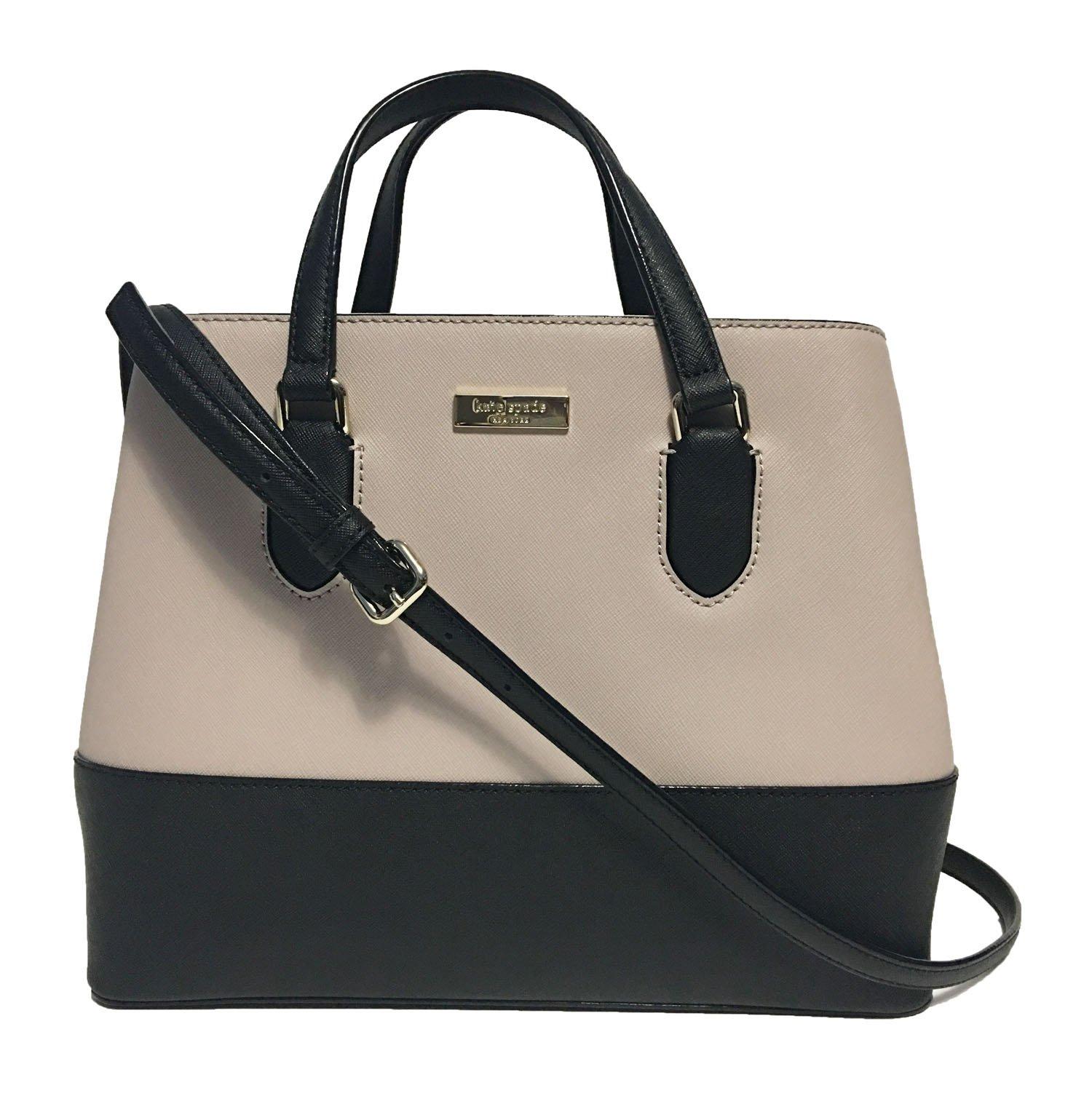Kate Spade New York Laurel Way Evangelie Saffiano Leather Shoulder Bag Satchel (Almandine/Black)