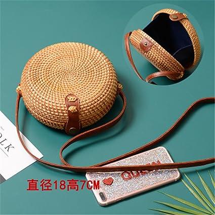 Woven Rattan Bag Round Straw Shoulder Bag Small Beach Handbags Women Summer Hollow Handmade Messenger Crossbody