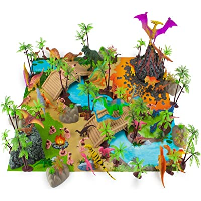 Prehistoric Playset, 100 Pieces - Jurassic Dinosaurs and Cave Men - Mini Dino Figure Bundle Kit with Play Mat, Storage Container, Volcano, Bridges, Plants & Educational Booklet - Toys & Games for Kids: Toys & Games