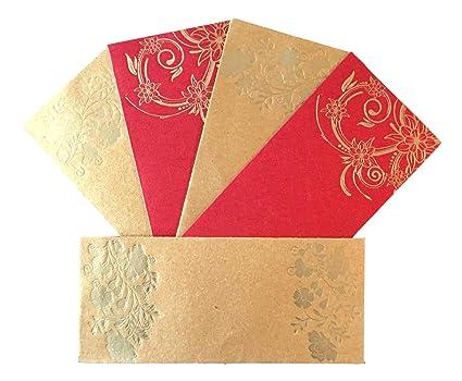 Paquete De 10 Sobres De Color Rojo Y Dorado Para Tarjetas De