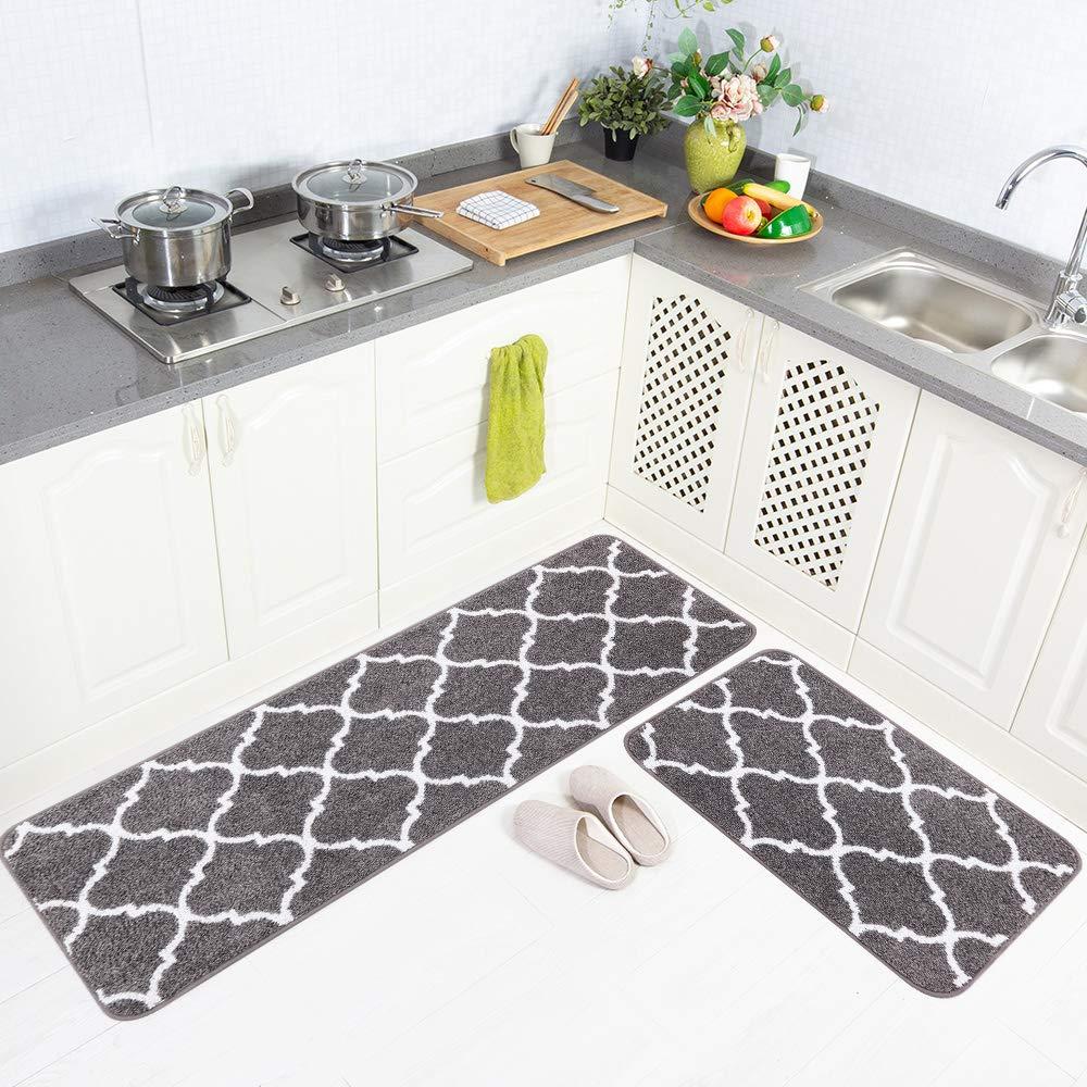 Carvapet 2 Pieces Microfiber Moroccan Trellis Non-Slip Soft Kitchen Mat Bath Rug Doormat Runner Carpet Set, 20''x63''+20''x31'', Grey
