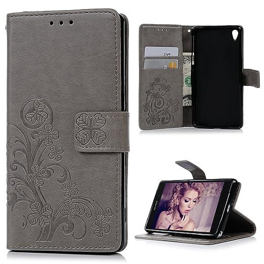 MAXFE.CO Lederhülle Leder Tasche Case Cover für Sony Xperia Z2 Hülle PU Schutz Etui Schale Gray Muster Design Backcover Flip