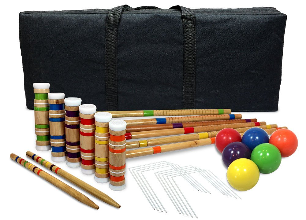 Driveway Games Portable Croquet Set.Wood Mallets, Balls, & Bag. Outdoor Backyard Lawn Croquette Game for Kids &  Adults by Driveway Games
