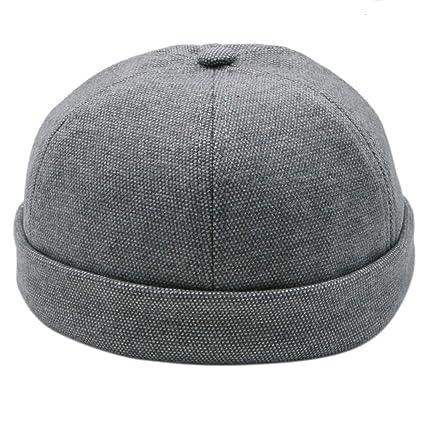 14229415e Amazon.com: JETEHO Neutral Grey Unisex Skull Cap Brimless Beanie Hat ...