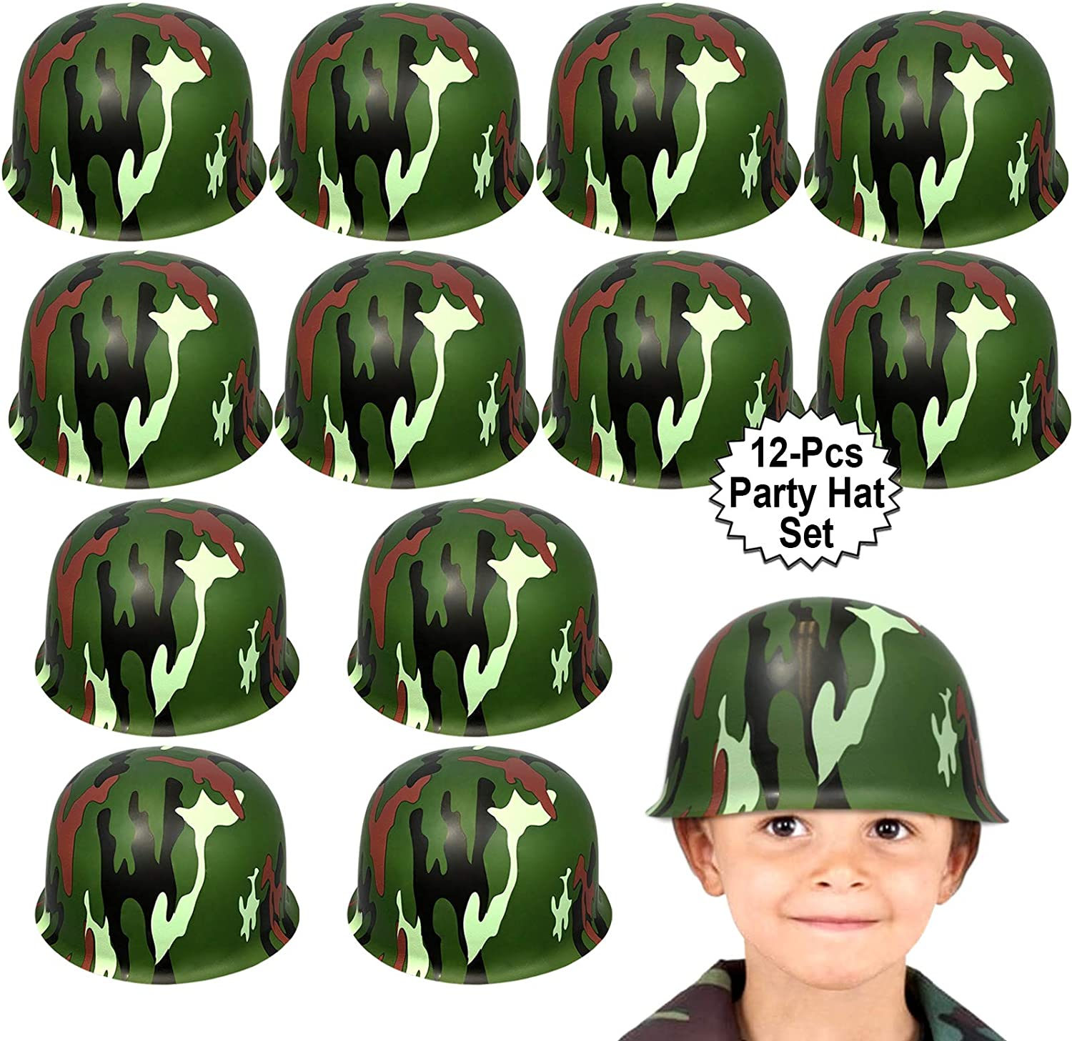 Anapoliz Army Helmets for Kids | 12 Count Plastic Camouflage Hats | Soldier Helmet Party Favors | Camo Costume Dress Up Hat