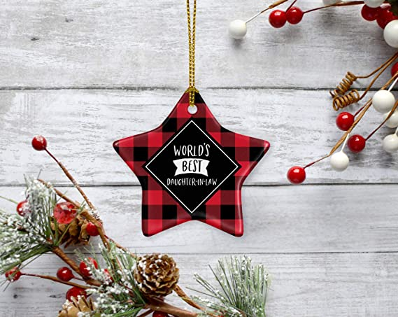 Amazon Com Andaz Press Star Ceramic Porcelain Christmas Tree Ornament Keepsake Gift World S Best Daughter In Law Plaid 1 Pack Birthday Gift Ideas Coworker Him Her Includes Gift Box Kitchen Dining