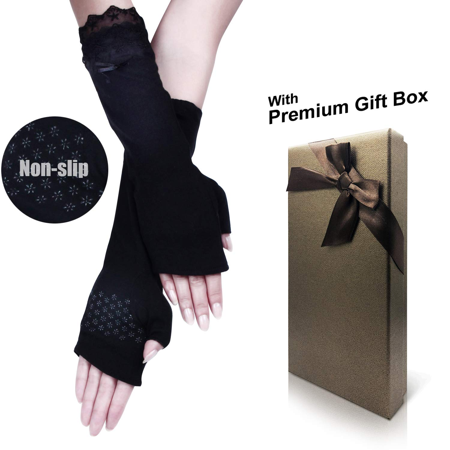 Women's Lace Bowknot Fingerless Gloves Perfect for Driving/Party/Evening with Gift Box
