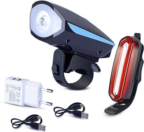 Recargables lámpara LED para bicicleta, LED luz frontal y trasera ...
