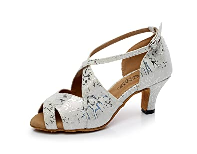 JSHOE Damen Latin Dance Schuhe Salsa/Tango/Tee/Samba/Modern/Jazz Schuhe Sandalen High HeelsGrey-heeled6cm-UK7...