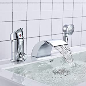 Senlesen Single Handle Bathtub Faucet Widespread 3 Hole Bathtub Faucet Vanity Basin Mixer Tap with Handleshower Head Chrome Finished