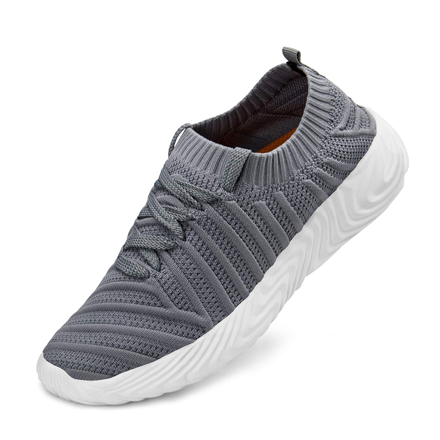 Grey ZOCAVIA Womens Walking shoes Knit Breathable Lightweight Slip On Tennis Running Gym Sneakers