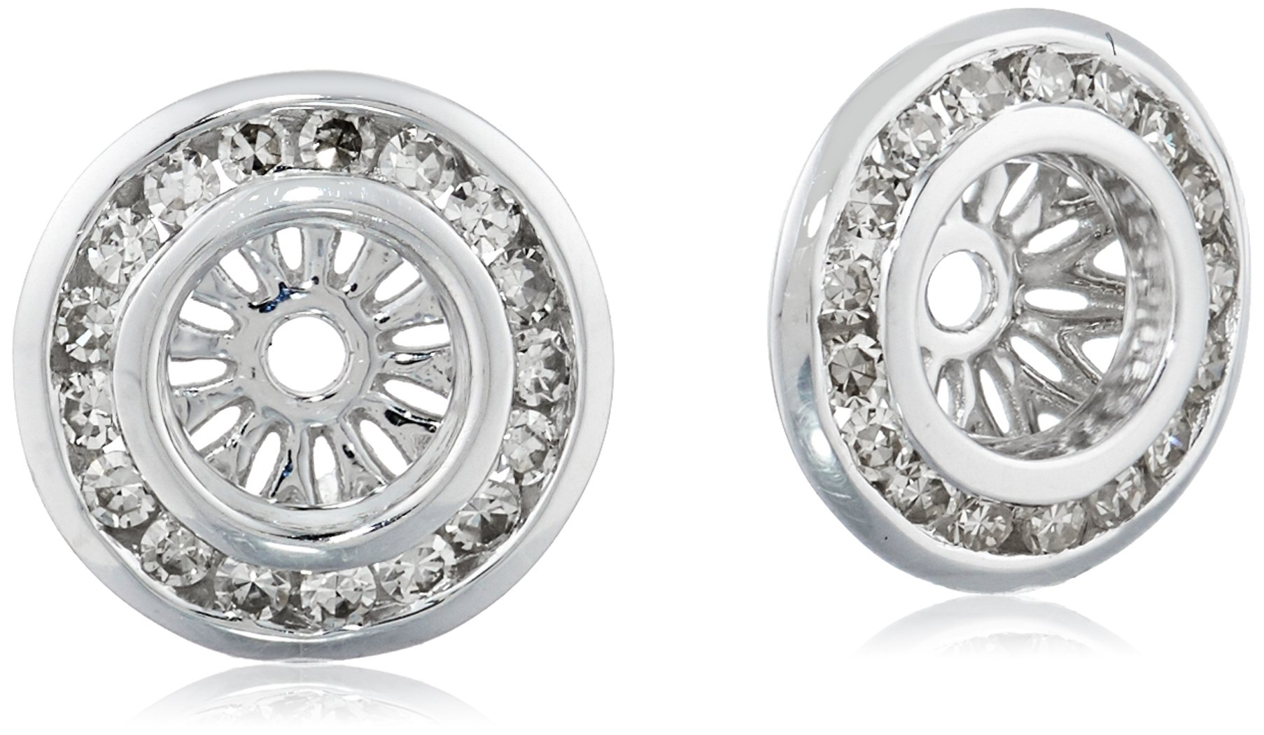 14k White Gold Diamond Channel Halo Earrings Jackets (1/4 cttw, J-K Color, I2-I3 Clarity)