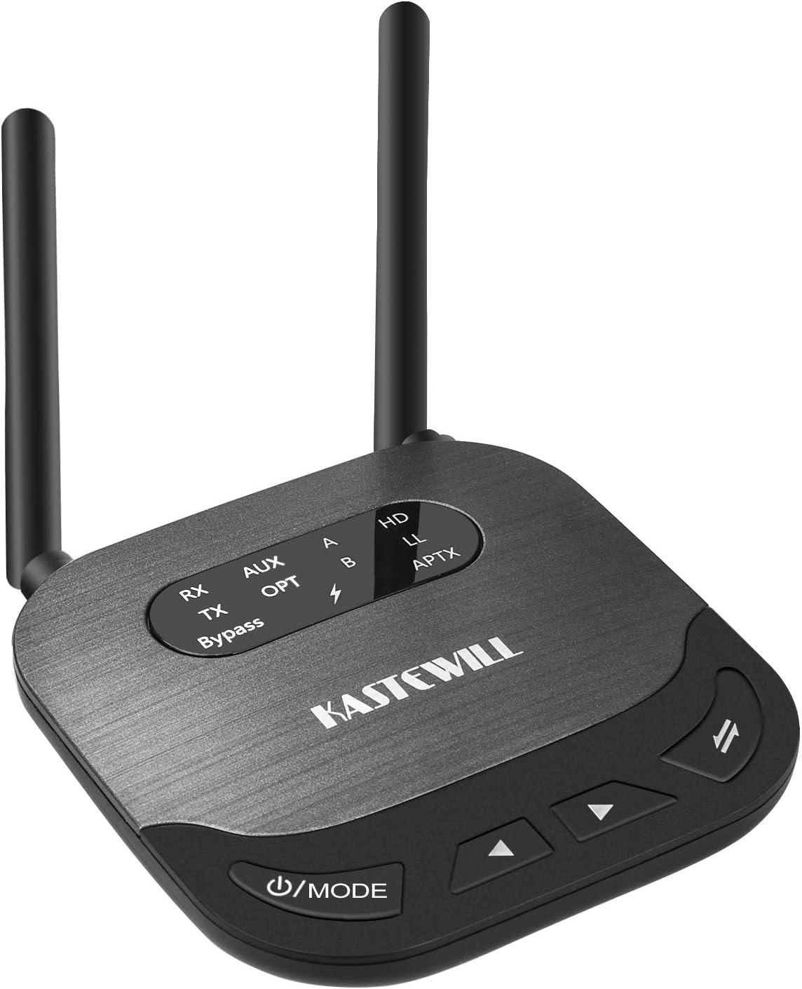 KASTEWILL Adaptador Bluetooth 5.0 Receptor Transmisor, 3-in-1Dual Antena Receptor 100M Amplio Rango con RCA, AUX, Óptico Digital para el ...