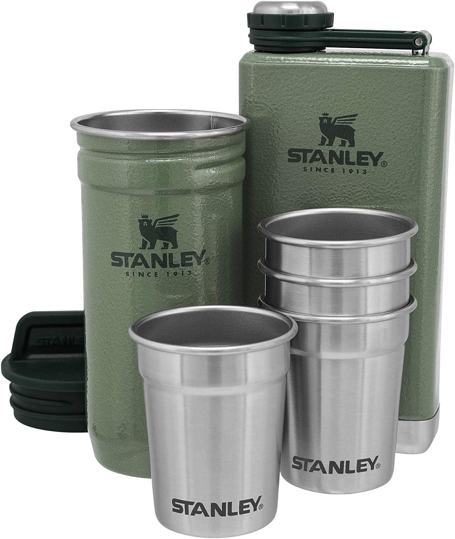 8oz Flask Gift Set Hammertone Green Stanley Adventure Stainless Steel Shots