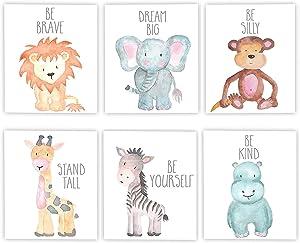 "iMagitek 6 Set Unframed Jungle Animal Quote Wall Art, Jungle Animals Nursery Decor, Safari Nursery Wall Art, New Baby Gift, Baby Shower Gift (8"" x 10"")"