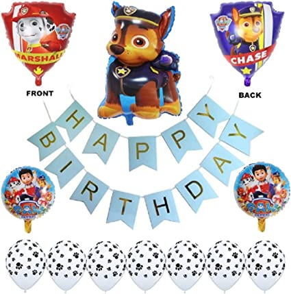 Paw Patrol Birthday Party Balloons - Complete Kids Themed Party Decorations - Helium Balloon Arrangement & Banner - Chase Rubble & Dog Paw Print ...